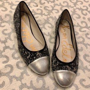 Sam Edelman Metallic Leather & Tweed Ballet Flats.